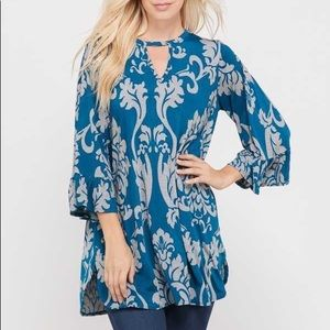 Teal/Grey Ruffle Sleeve Damask Tunic Top